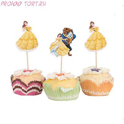 """Топперы для капкейков и торта """" Красавица и Чудовище """" 1шт/уп"""