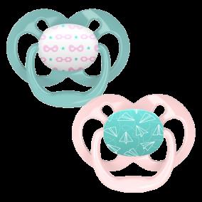 Dr.Brown's Пустышки Advantage™, 6-18 месяцев, с колпачком, Розовые Самолёты, 2 шт (арт. PA22001)