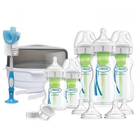 """Dr.Brown's Набор Подарочный """"Делюкс"""". Контейнер для стерилизации, пять бутылочек """"Options+"""" с широким горлышком, соски и аксессуары (Арт. AC167)"""