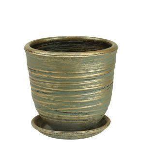 горшок Цилиндр Волна зел.17см 2-08 (Ц11/1)