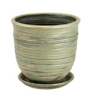 горшок Цилиндр Волна зел.21см 3-08 (Ц11/2)
