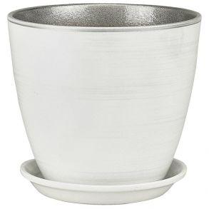 горшок бутон бел/серебро 21см (ЭК 02/4)