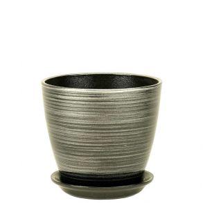 горшок бутон черн/серебро 12см (ЭК 04/1)