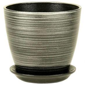 горшок бутон черн/серебро 21см (ЭК 04/4)