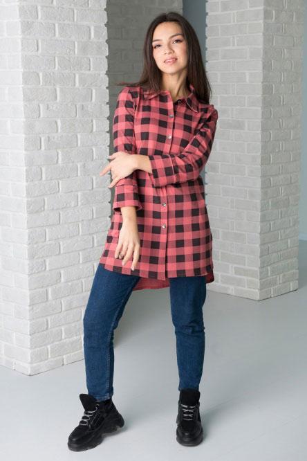 Туника-рубашка арт.0732-28 карамельная, кулирка