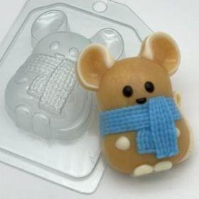 """Форма для мыла и шоколада """"Мышь в шарфе"""""""