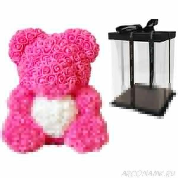 Мишка из роз с сердцем в подарочной коробке, 40 см., Тёмно-розовый