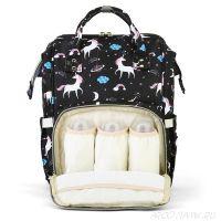 Сумка-рюкзак для мамы Mummy Bag Единорог, Цвет: Чёрный
