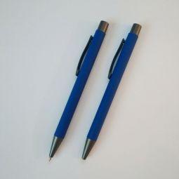 синие ручки с софт тач покрытием