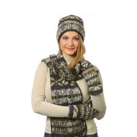 Комплект шапка, шарф, варежки вязаный из Исландской шерсти 08197-67