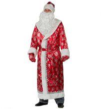 Батик Карнавальный костюм для взрослых Дед Мороз Узорчатый красный