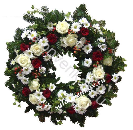 Элитный траурный венок из живых цветов №113, РАЗМЕР 60см
