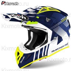 Шлем Airoh Aviator Ace Nemesi, Синий с жёлтым