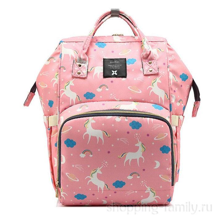 Сумка-рюкзак для мамы Mummy Bag Единорог, Цвет Розовый