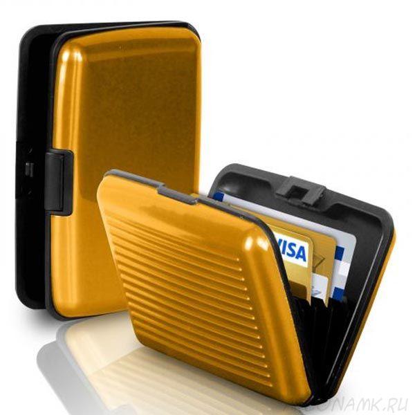 Кейс для кредитных карт Security Credit Card Wallet, Золотой