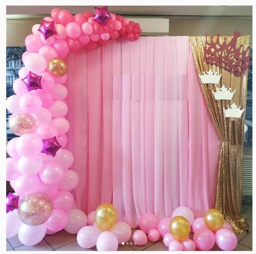 Розовые мечты, фотозона с ассиметричной гирляндой