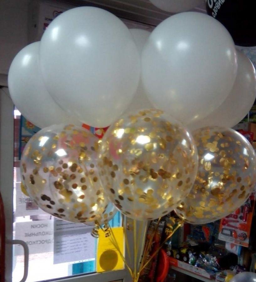 Букет из шаров золотое конфетти и белые