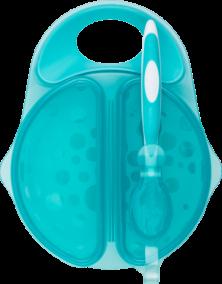 Dr.Brown's Тарелка глубокая Travel Fresh™ с прикрепляемой ложечкой (цвет морской волны) (арт. TF010)
