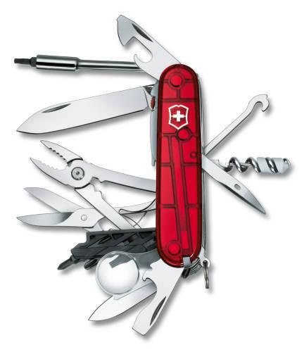 Нож Victorinox CyberTool Lite, 91 мм, 36 функций, полупрозрачный красный