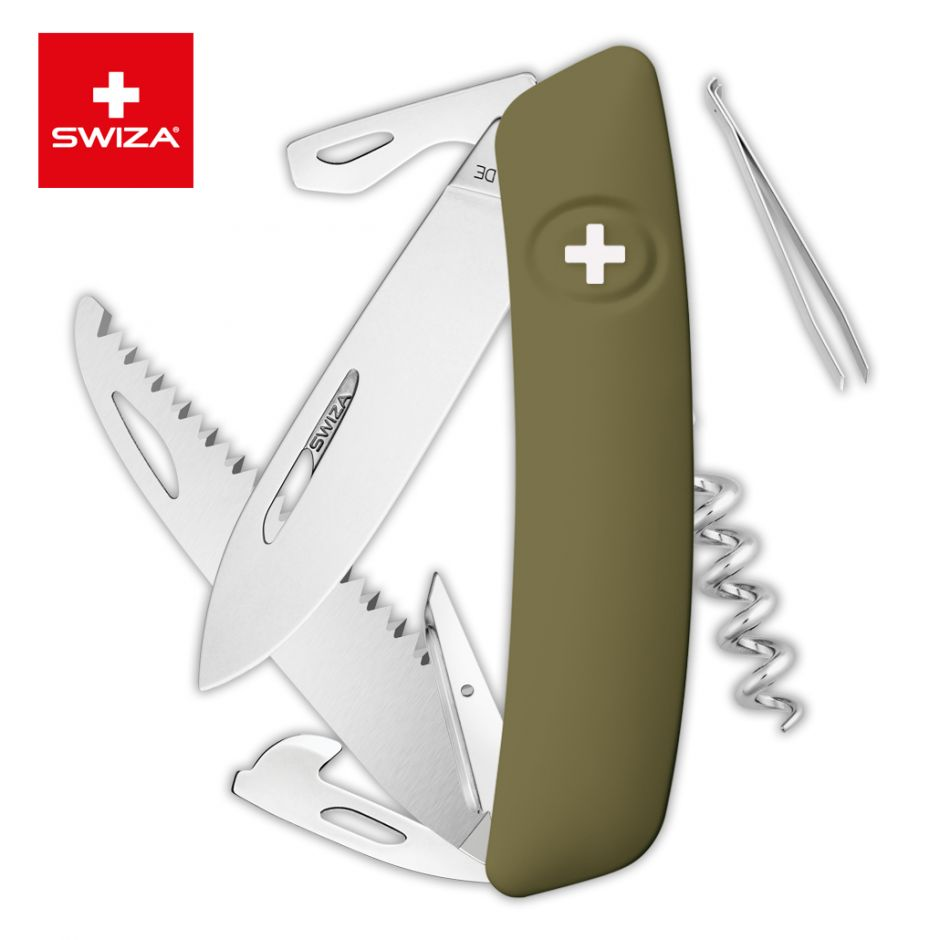 Швейцарский нож SWIZA D05 Standard, 95 мм, 12 функций, темно-зеленый