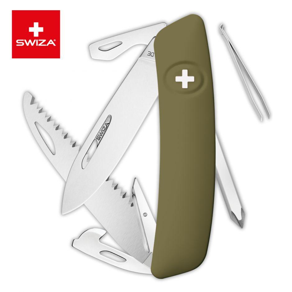 Швейцарский нож SWIZA D06 Standard, 95 мм, 12 функций, темно-зеленый