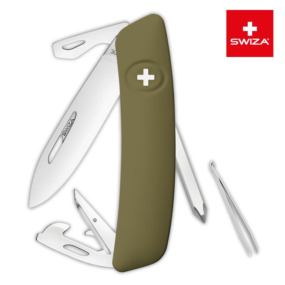 Швейцарский нож SWIZA D04 Standard, 95 мм, 11 функций, темно-зеленый