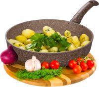 Сковорода глубокая 22 см ГРАНИТ (браун-браун) без крышки (10) DECO-DARIIS HUR-A-108 ВВ