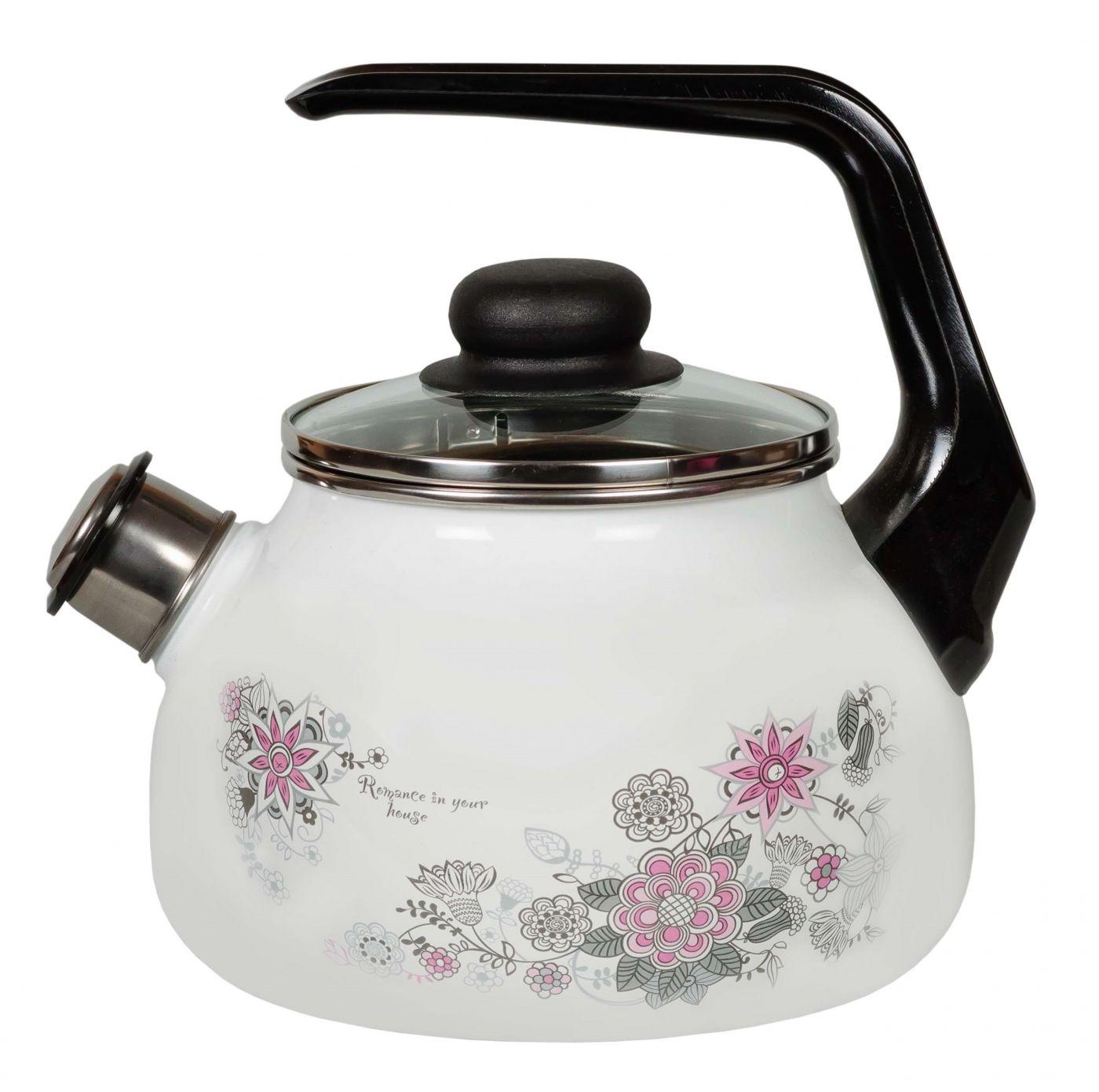Чайник эмалированный 2 литра со свистком Весенний Романс белоснежный (4) Северсталь-Эмаль 4с210я