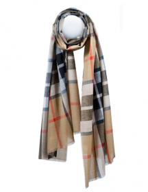 """шотландский тонкорунный легкий широкий палантин (шарф) Альба, 100% шерсть- тонкая нить мулине , расцветка клана Томпсон (кэмэл). """"THOMPSON CAMEL MODERN EXTRA FINE MERINO """" плотность 2"""