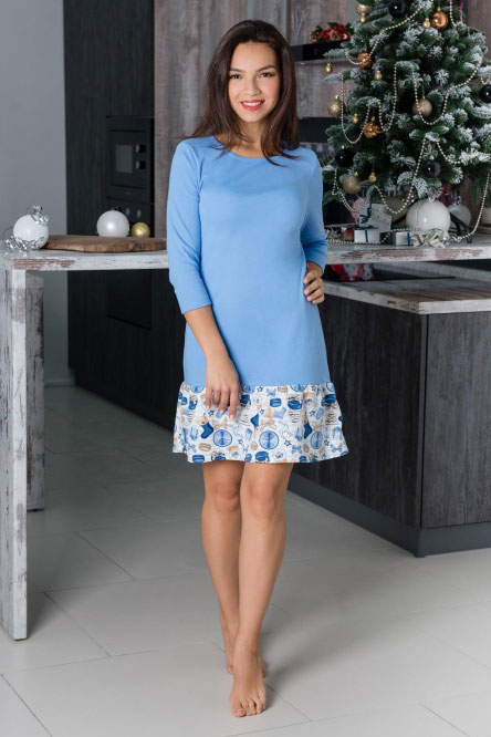 Платье домашнее арт.0753-16 голубой, интерлок