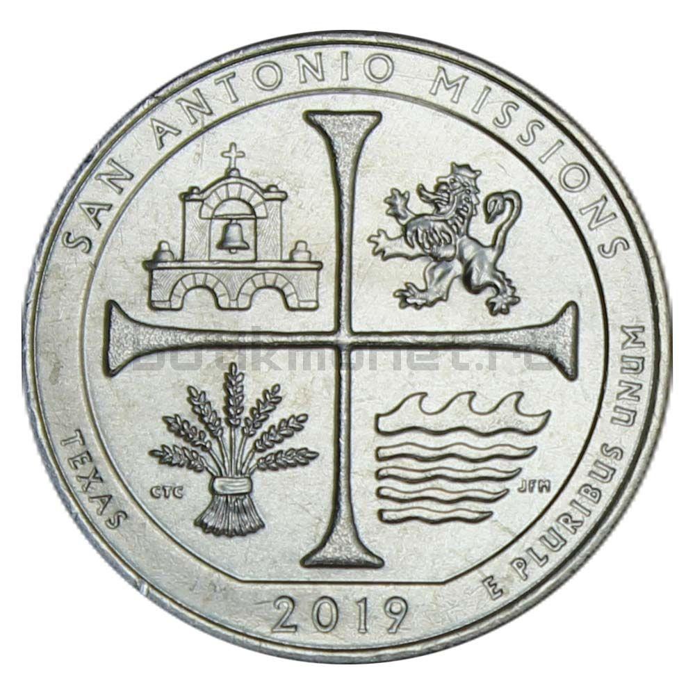 25 центов 2019 США Национальный Исторический Парк Миссии Сан-Антонио P