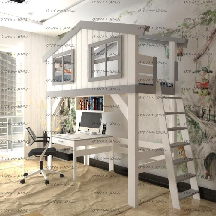 Кровать-чердак Домик №В