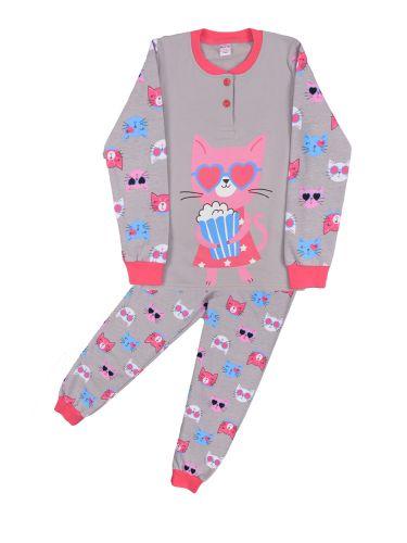Теплая пижама для девочки 7-10 лет Bonito BN957Д серый