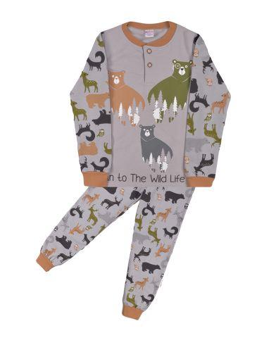 Теплая пижама для мальчика 7-10 лет Bonito BN957М серый