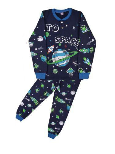 Теплая пижама для мальчика 7-10 лет Bonito BK955PJM темно-синий