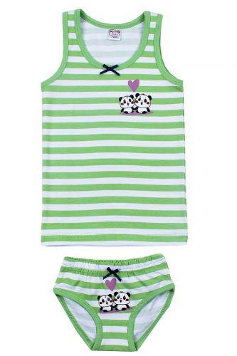 """Комплект белья для девочек Bonito kids 2-6 лет """"Панда"""" зеленый"""