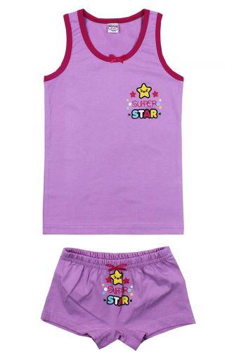 """Комплект белья для девочек Bonito kids 7-11 лет """"Super Star"""" фиолетовый"""