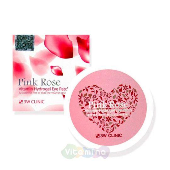 3W CLINIC Витаминные гидрогелевые патчи для глаз Pink Rose Vitamin Hydrogel Eye Patch, 60 шт