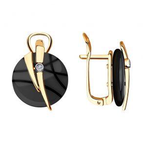 Серьги из золота с бриллиантами и чёрными керамическими вставками 6025110 SOKOLOV