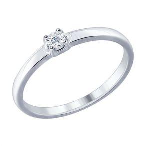 Кольцо из серебра с бриллиантом 87010016 SOKOLOV