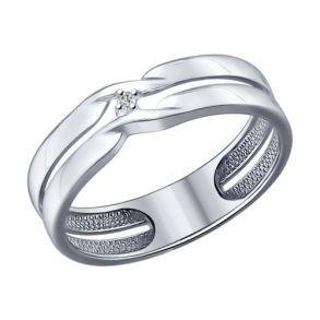 Кольцо из серебра с бриллиантом 87010014 SOKOLOV