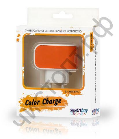 СЗУ SmartBuy COLOR CHARGE, 2А, универсальное, 1хUSB, оранжевое (SBP-8050)