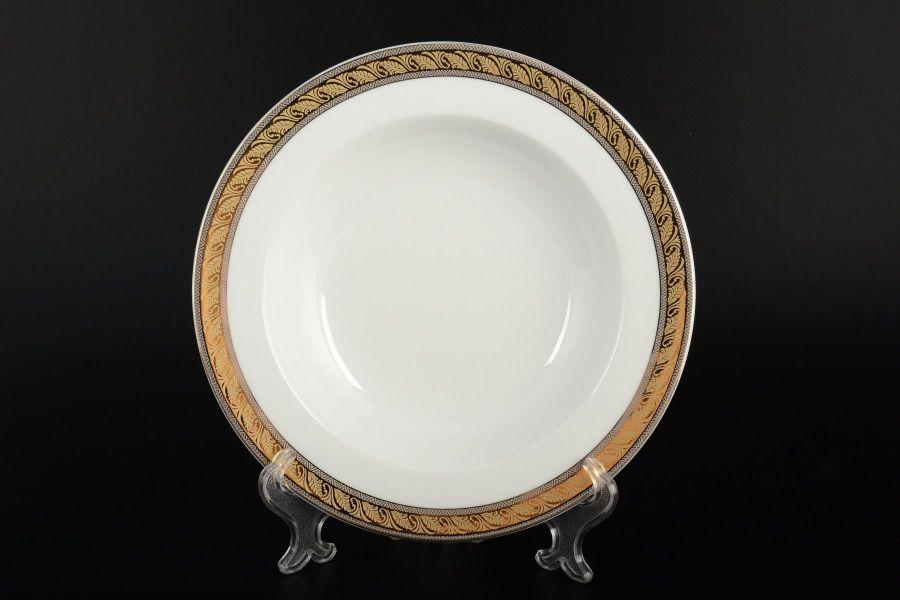 """Набор тарелок глубоких 22 см """"Кристина Платиновая золотая лента"""", 6 шт."""