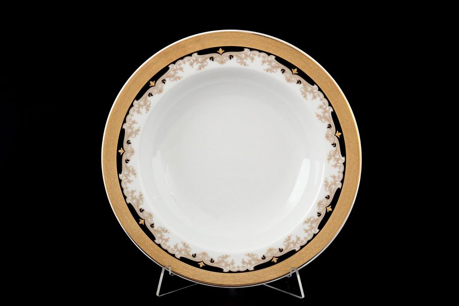 "Набор тарелок глубоких 22 см ""Кристина Черная Лилия"", 6 шт."