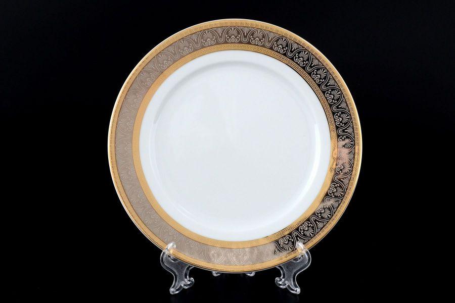 "Набор тарелок 19 см ""Опал Широкий кант платина золото"", 6 шт."