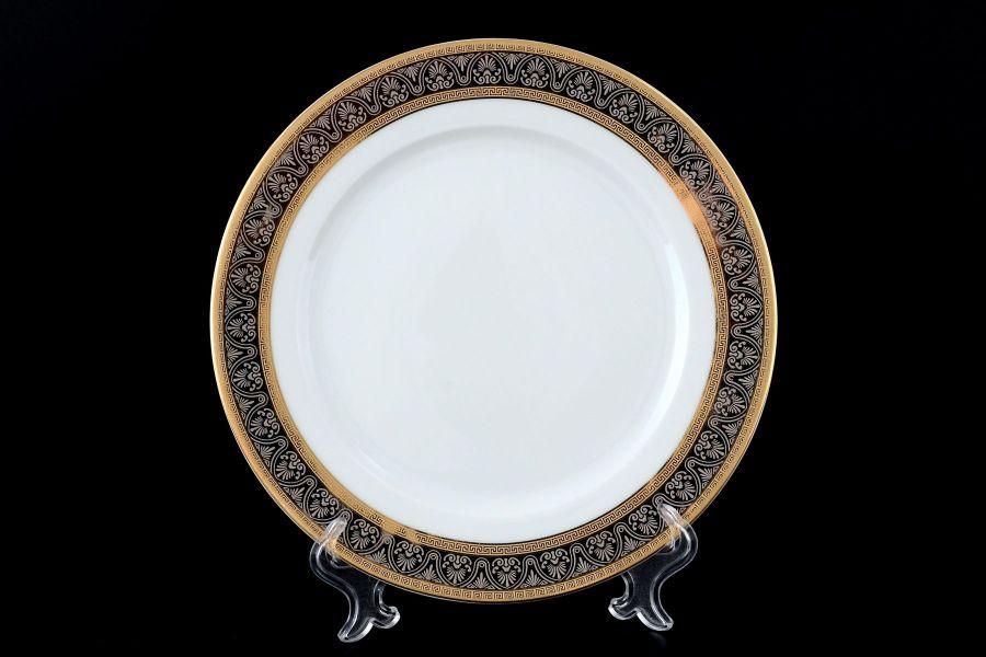 "Набор тарелок 21 см ""Опал Широкий кант платина золото"", 6 шт."
