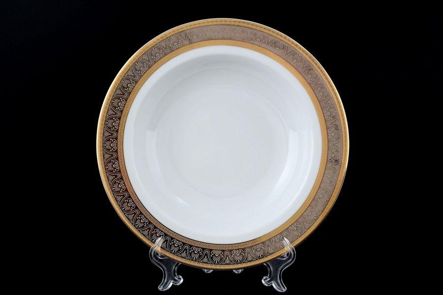 """Набор тарелок глубоких 22 см """"Опал Широкий кант платина золото"""", 6 шт."""
