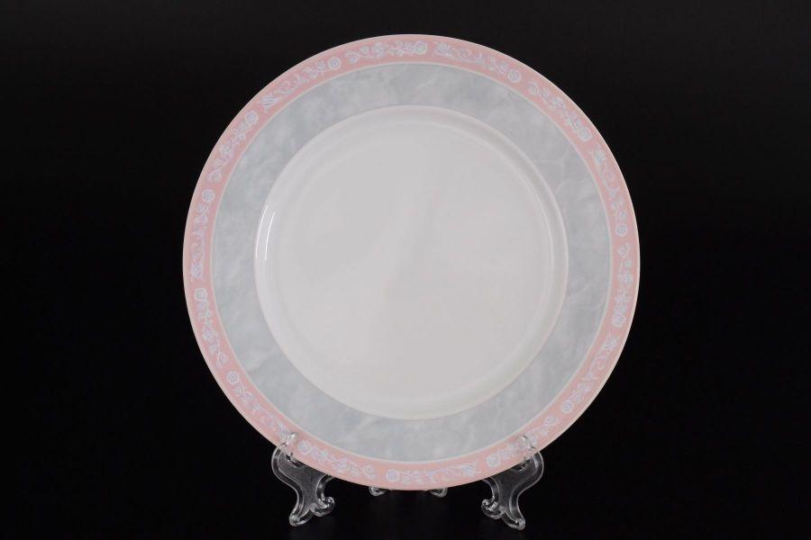 "Набор тарелок 19 см ""Яна Серый мрамор с розовым кантом"", 6 шт."