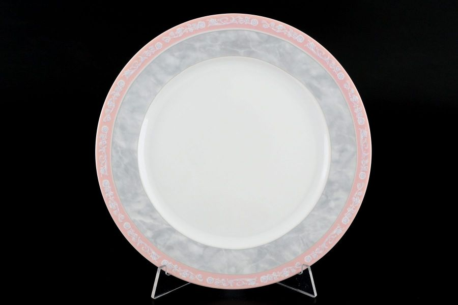 "Набор тарелок 21 см ""Яна Серый мрамор с розовым кантом"", 6 шт."