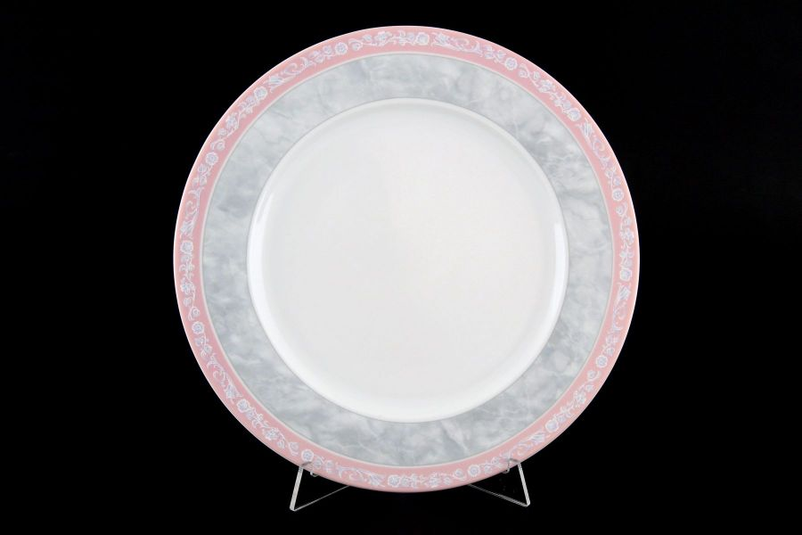 "Набор тарелок 25 см ""Яна Серый мрамор с розовым кантом"", 6 шт."